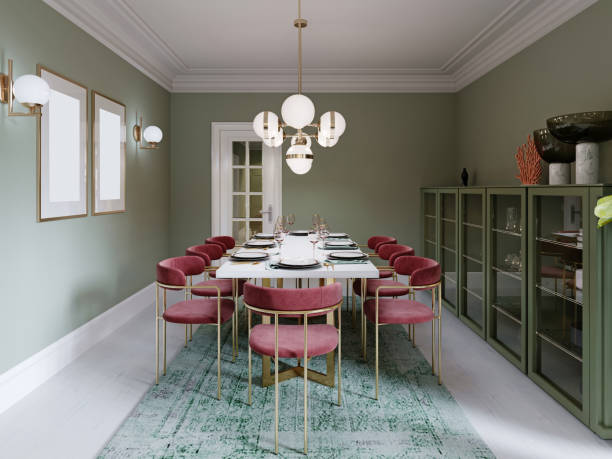 Dining area with dining table, turquoise chairs, white marble countertop, served table. Large dining room kitchen in mint colors.