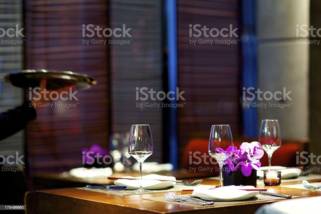 Dining at upscale Asian Restaurant stock photo