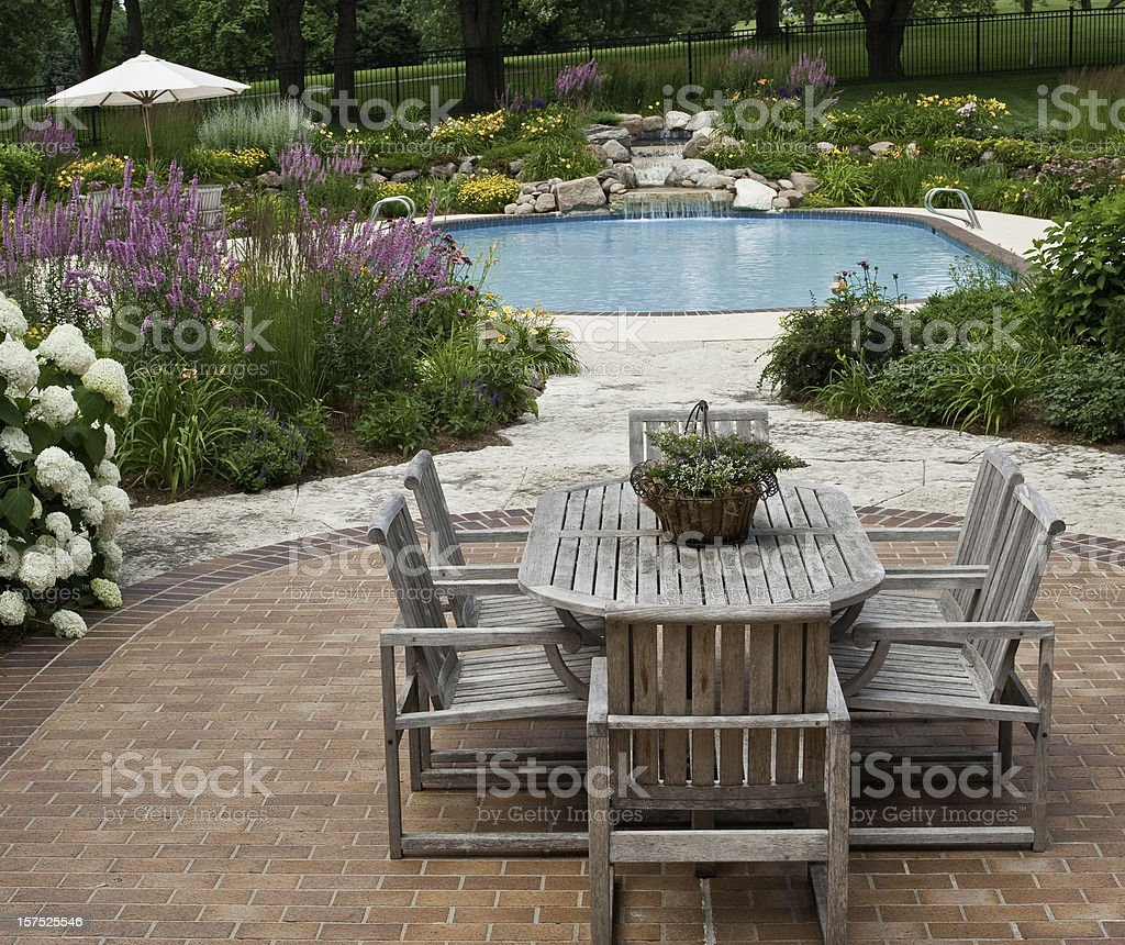 Dining by the Pool royalty-free stock photo