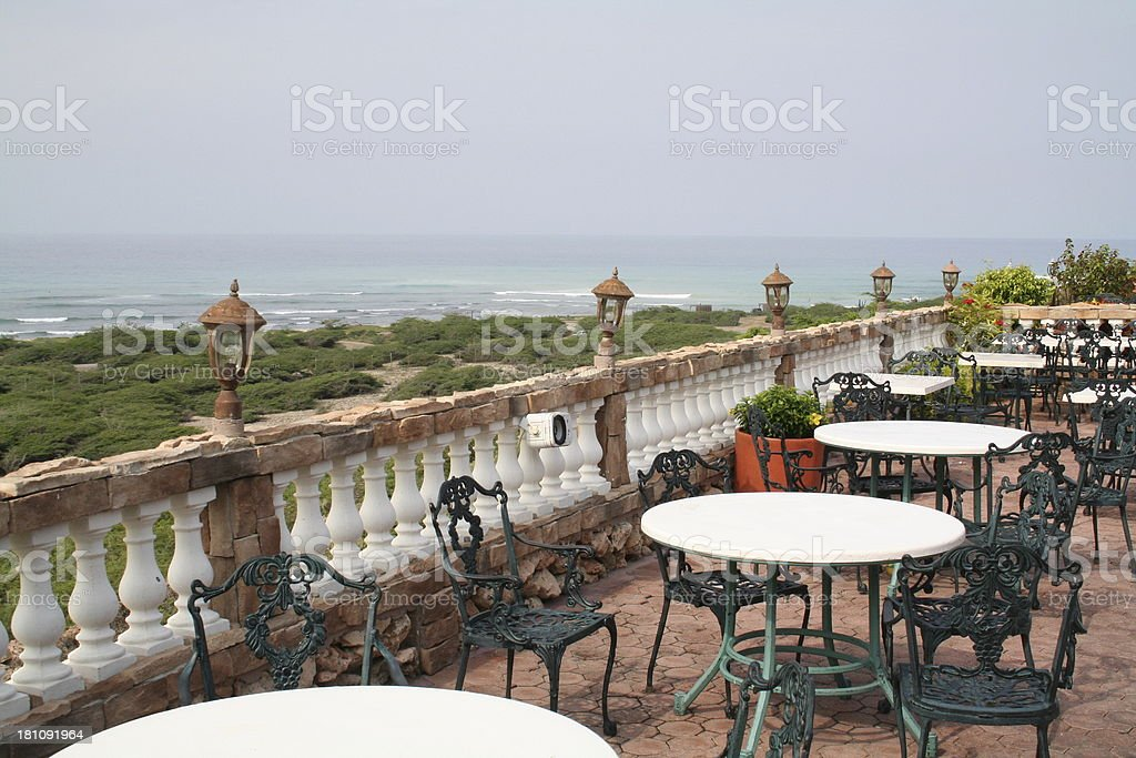 Dining by the Sea in Aruba stock photo