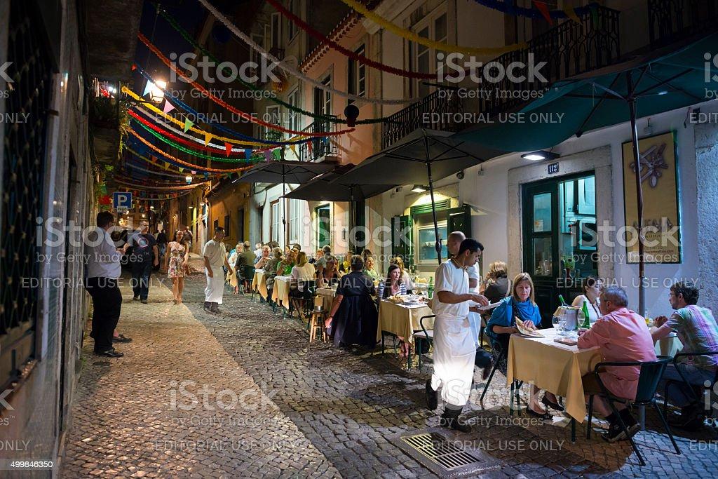 Dining in Lisbon's Bairro Alto district stock photo
