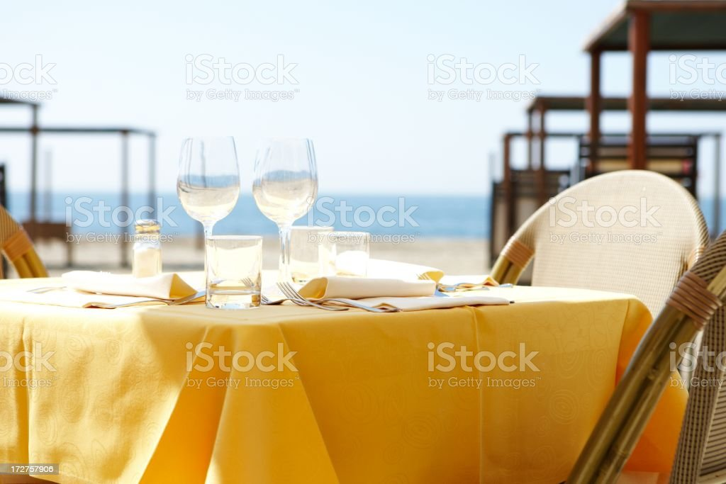 dining on the beach royalty-free stock photo