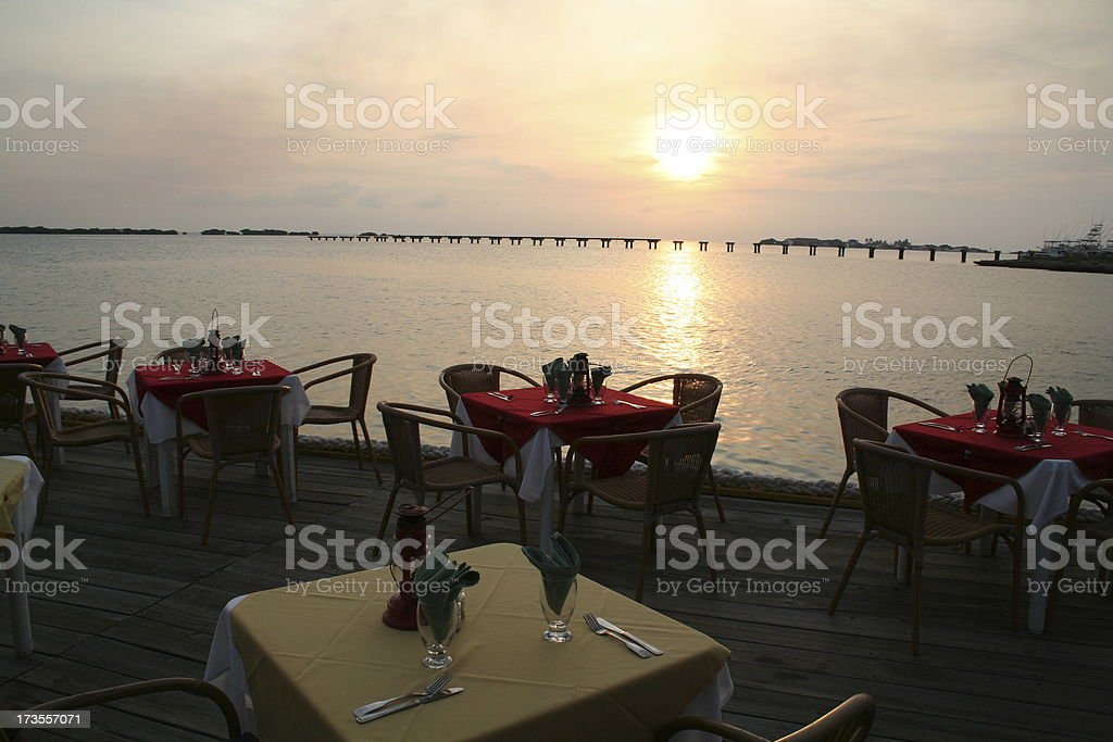 Dining on the Caribbean in Aruba stock photo