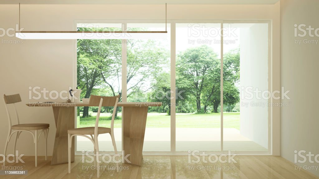 Dining Room And Space For Add Artwork Dining Area With Forest And Meadow View In Hotel Or Home 3d Illustration Stock Photo Download Image Now Istock