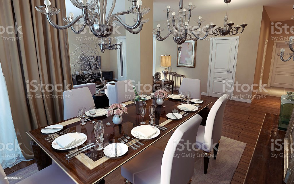 Dining Room Art Deco And Classical Style Stock Photo Download Image Now Istock