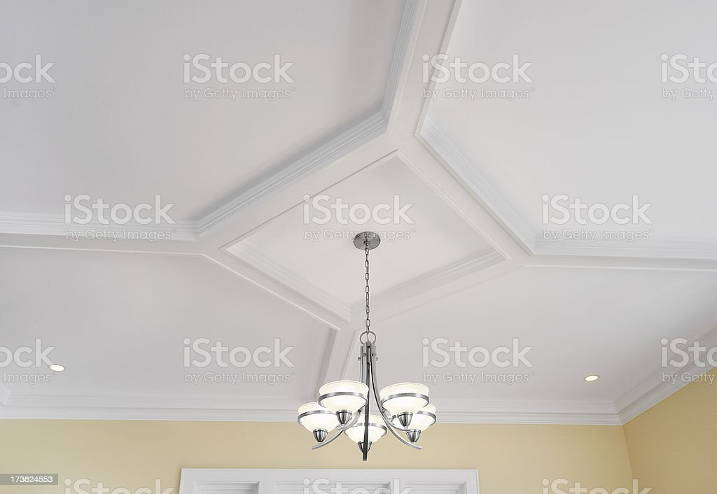 Dining Room Ceiling and Chandelier stock photo