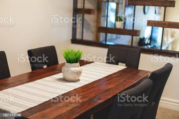 Dining Room Home Interior Design And Furniture Elements In Modern Domestic Room Photo Series Stock Photo - Download Image Now
