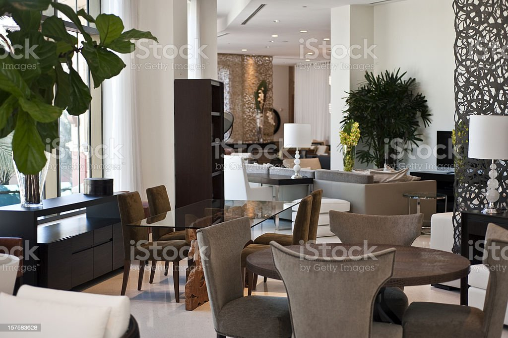 Dining room in a furniture showroom stock photo