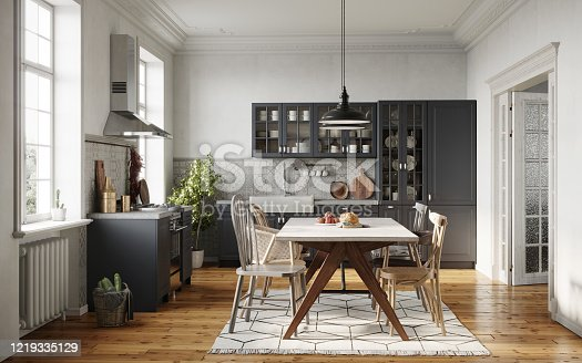 Digitally generated image of a dining room area design with wooden table and chairs. Small kitchen with dining area in 3D rendering.