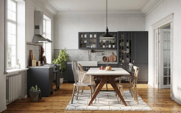 jadalnia w nowoczesnej kuchni - kuchnia zdjęcia i obrazy z banku zdjęć
