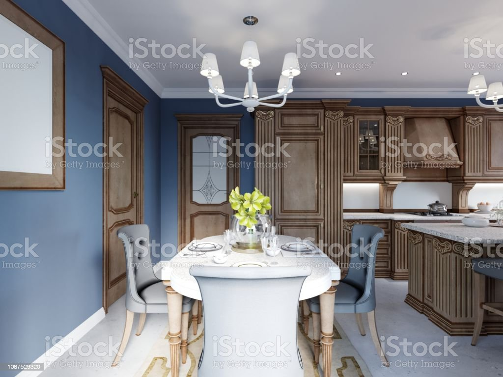 Dining room in classic and luxury style, with dining served table...