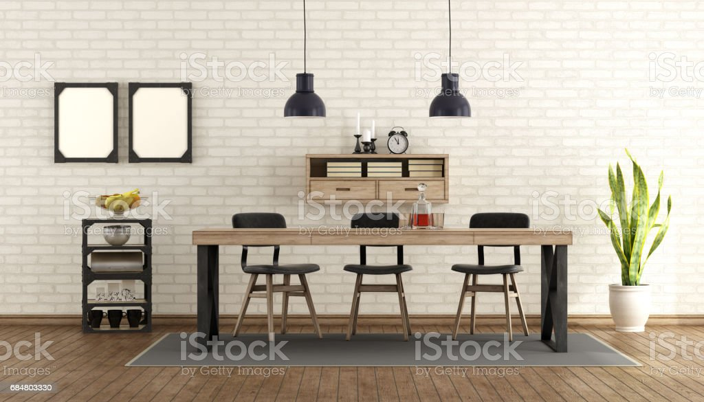Dining Room In Industrial Style Stock Photo Download Image Now Istock