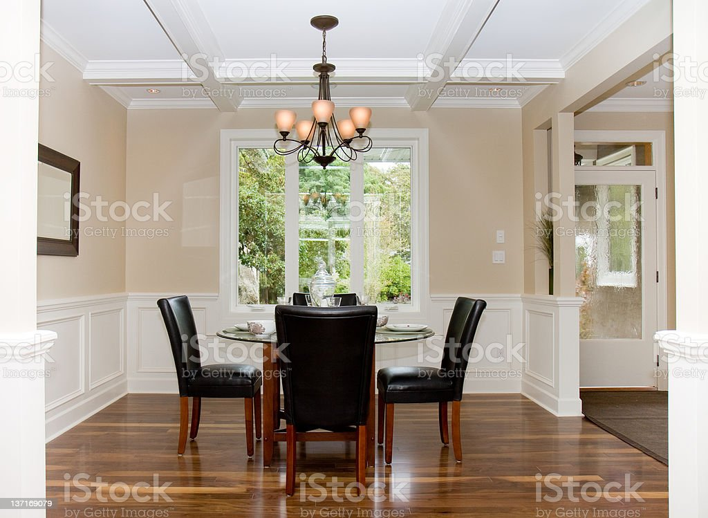 Dining Room in Luxury Home stock photo