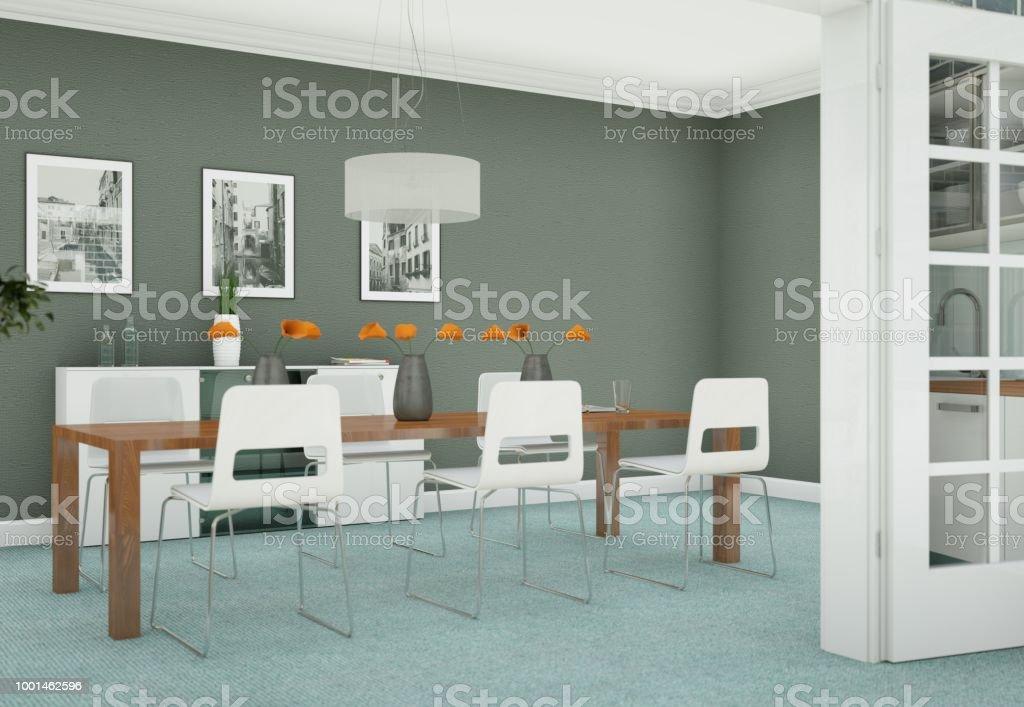 Salle à Manger Design Du0027intérieur En Appartement Moderne Photo Libre De  Droits
