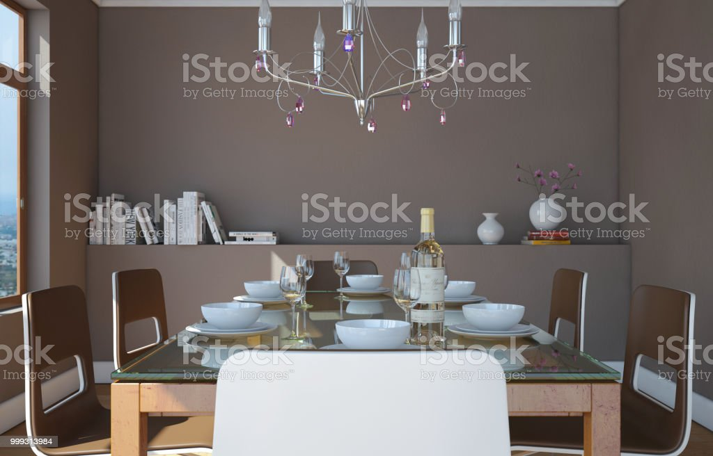 Dining room interior design with grey wall 3D Illustration