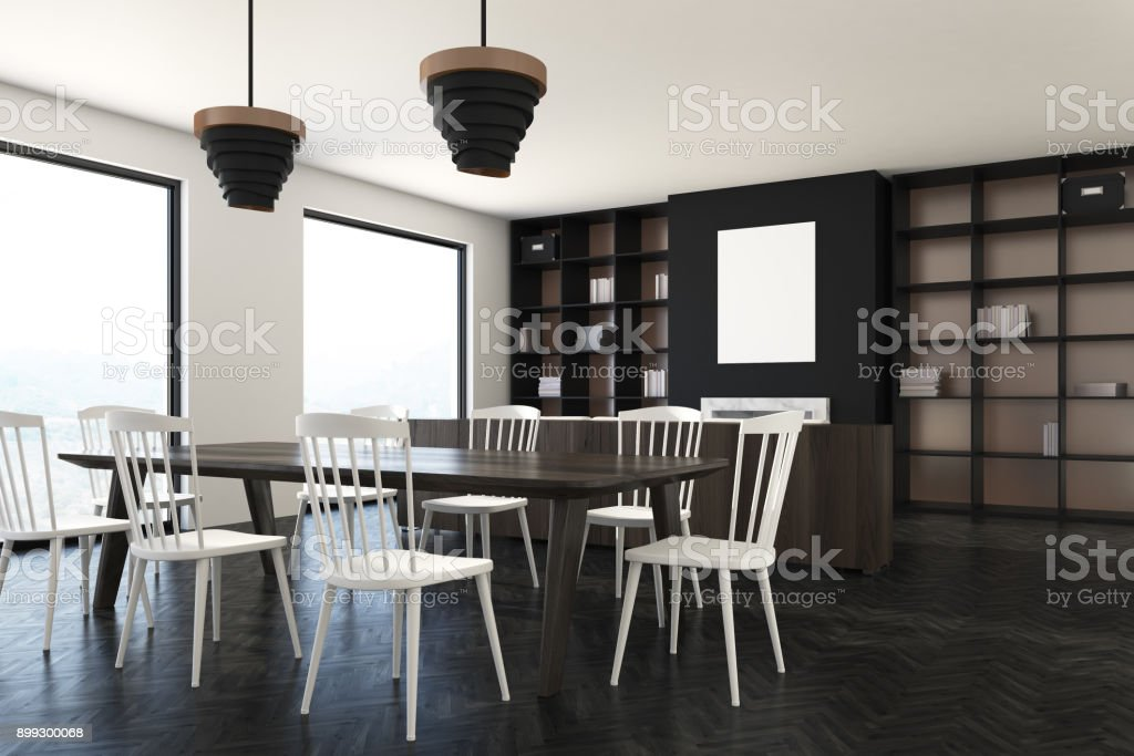 Dining Room Interior White Chairs And Poster Side Royalty Free Stock Vector Art