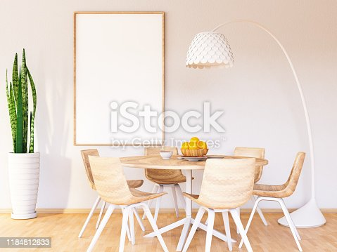 Dining Room Interior with Picture Frame Template. 3d Render