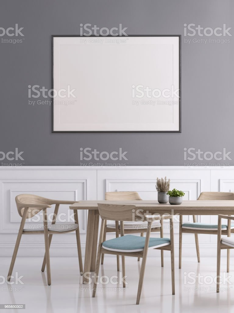 Dining room interior with picture frame template - Royalty-free Apartment Stock Photo