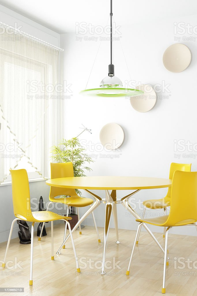 Dining room interior with yellow table and chairs royalty-free stock photo