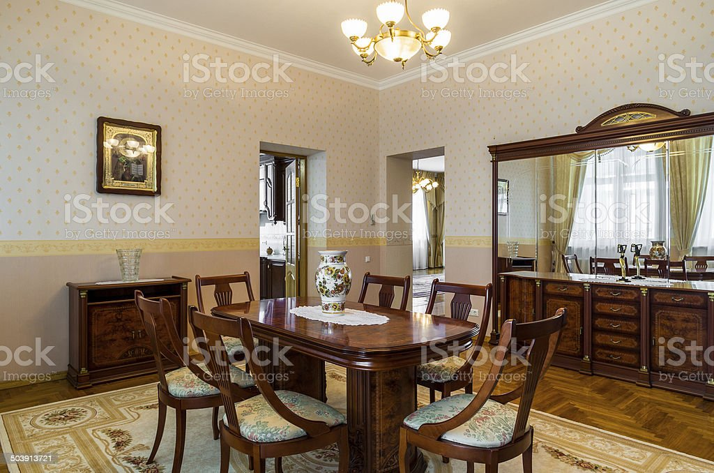 Dining room luxury classicism interior stock photo