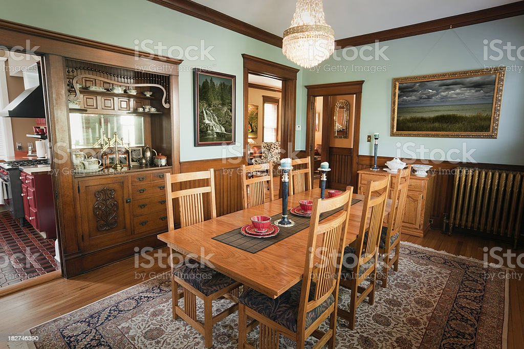 Dining Room of a Traditional Victorian Home Interior stock photo