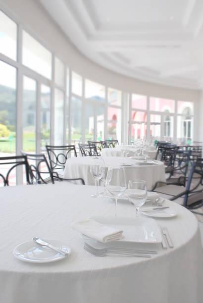 Dining Room of Empty Restaurant stock photo