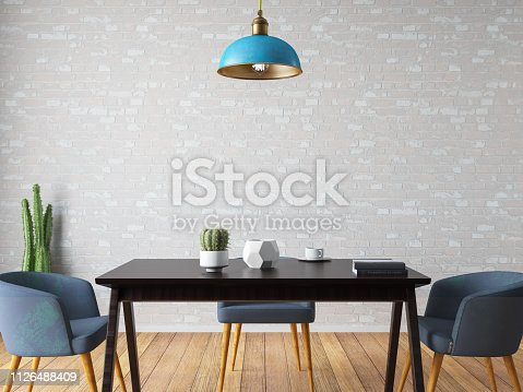 Dining room concept with table chair and furnitures