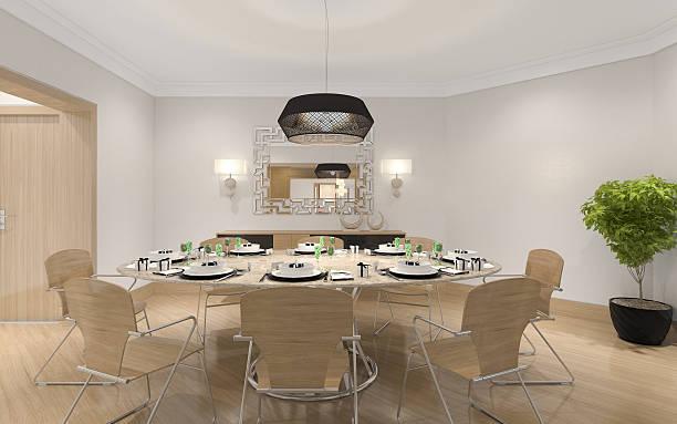 esszimmer room - landhausstil küche stock-fotos und bilder