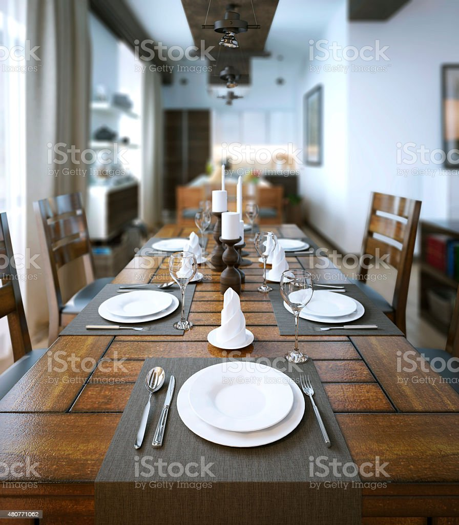 Dining room, rustic and modern style stock photo