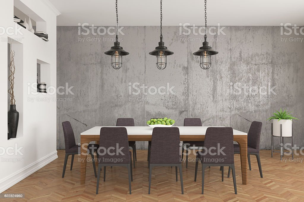 Dining room table and chairs stock photo
