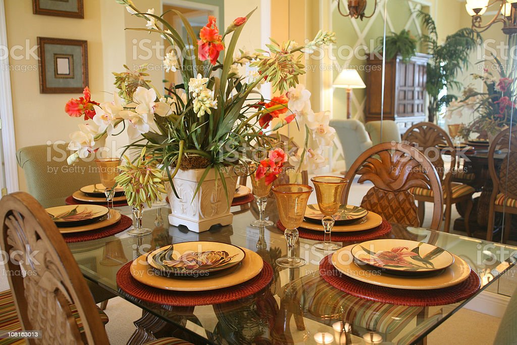 Dining Room Table And Chairs With Floral Arrangement Royalty Free Stock  Photo Part 78
