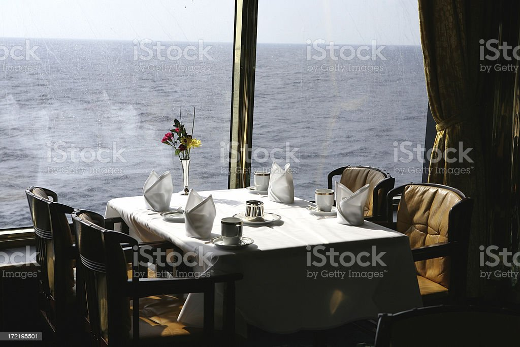 Dining room table in a cruise ship royalty-free stock photo