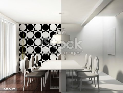 470812928istockphoto Dining Room with and without textures 186804174