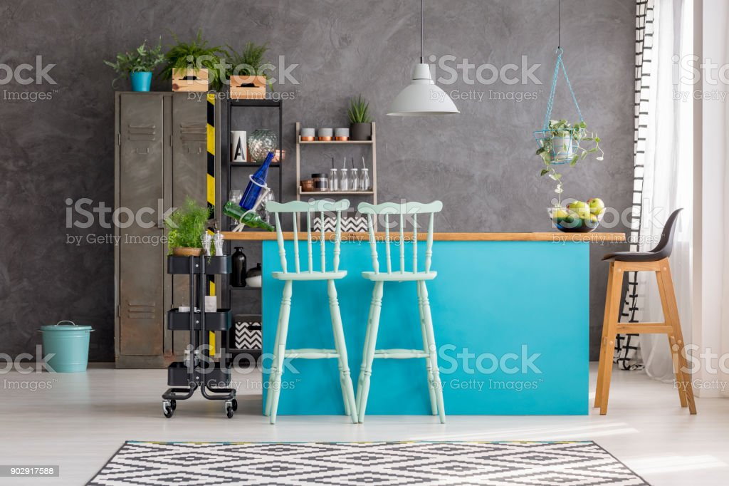 Dining Room With Bar Stools Royalty Free Stock Photo
