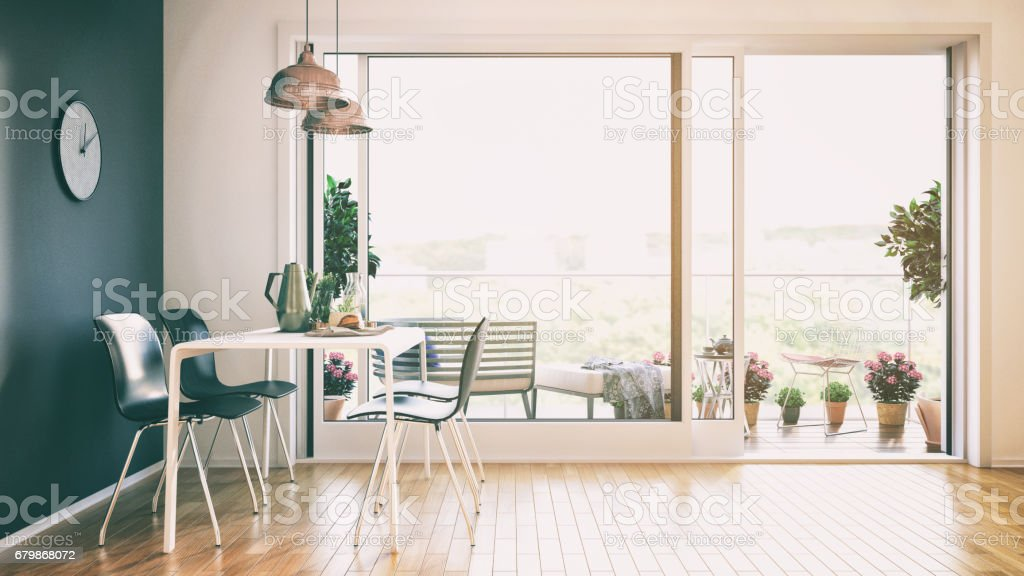 Dining room with beautiful balcony stock photo