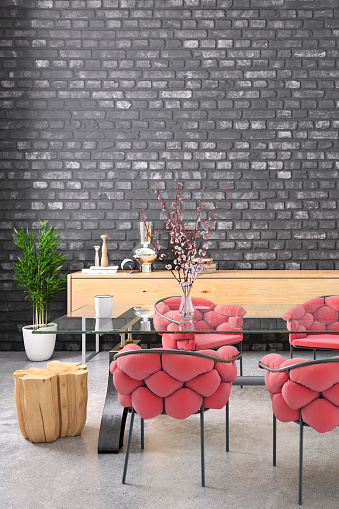 Dining Room With Blank Black Brick Wall Stock Photo ...