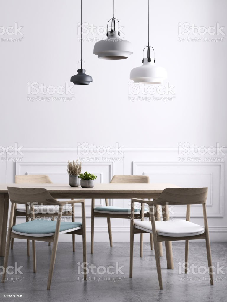 Dining Room With Chandeliers Wall Background Template