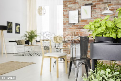 660325278istockphoto Dining room with herbs cart 641190334