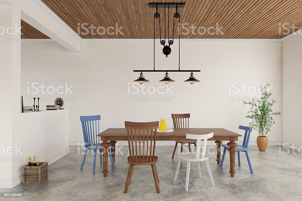 Dining room with modern vintage table stock photo