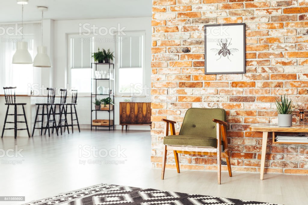 Dining room with rustic furniture stock photo