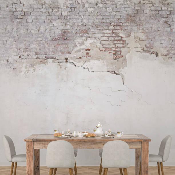 식탁과 장식 스톡 사진 - 흰색 벽돌 담 뉴스 사진 이미지