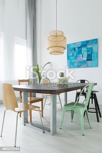 660325278istockphoto Dining room with trendy lamp 660325254