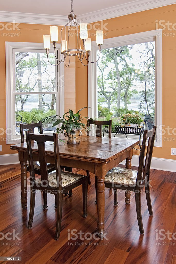 dining room with view stock photo