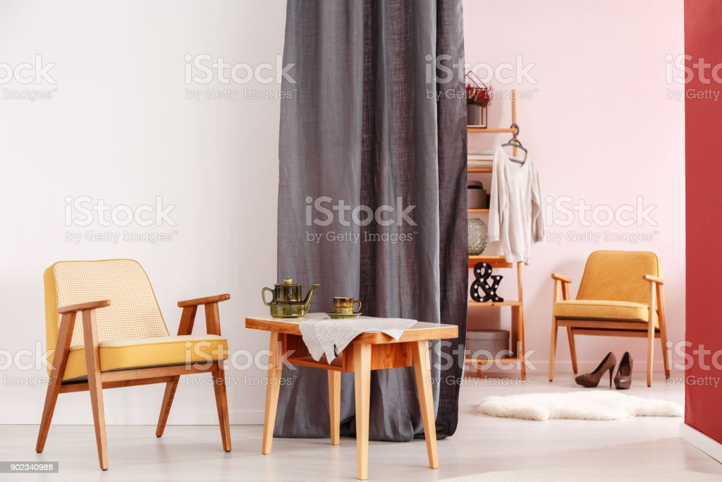 Dining room with walk-in wardrobe stock photo