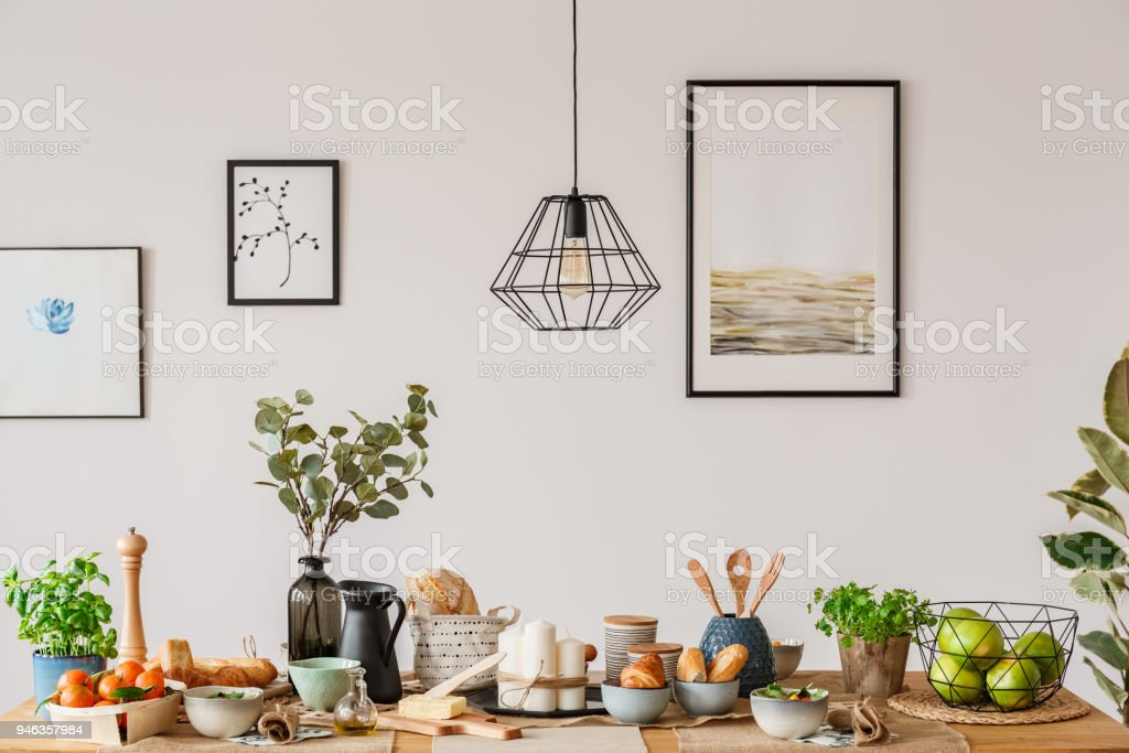 Dining room with wooden table stock photo