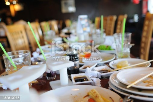 istock Dining table after big meal at restaurant 182810257