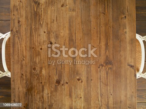 Looking down on a wooden dining table and chairs
