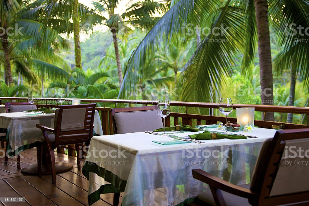 Dining Table at Restaurant stock photo