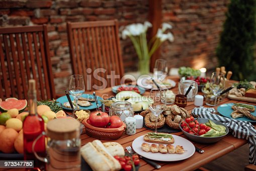 Dining Table Food Outdoors Concept