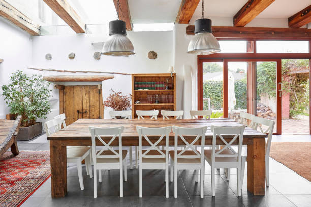 Dining table in a Spanish farmhouse stock photo